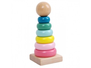 Children's intelligence development infants and children's educational wooden trumpet macaron rainbow tower stacking music trap