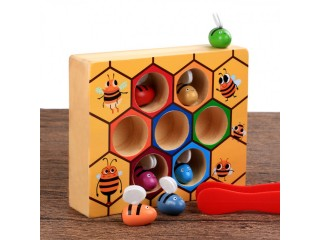 Beehive game industrious little bee catching game color recognition 0-3 years old wooden baby early childhood education toy