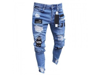 Men's Elastic Ripped Skinny Moto Embroidered Printed Jeans