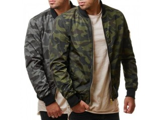 Male Coats Camo Bomber Jacket