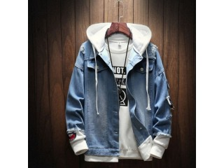 Men Jackets Fake Two Pieces Patchwork Denim Hooded Jacket