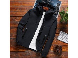Casual Solid Hooded Jackets