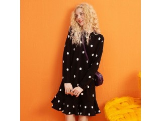 Christmas Solid Polka Dot Casual Dress