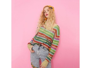 Women Colorful Striped Cute Sweater
