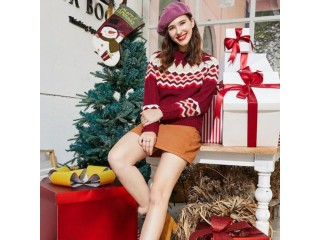 Mock Neck Intarsia Knit Graphic Christmas Sweater