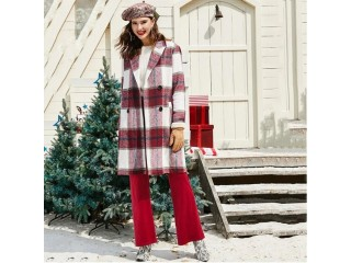Christmas Plaid Double Breasted Wool Blend Coat