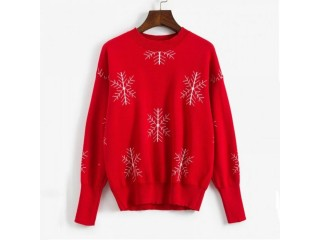 Christmas Snowflake Graphic Crew Neck Sweater