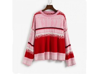 Christmas Graphic Textured Drop Shoulder Sweater