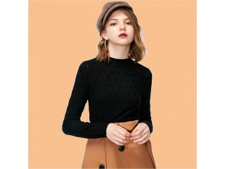 Half-high collar long-sleeved sweater