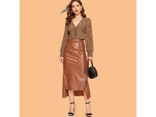 Office lady solid color leather skirt