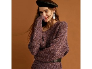 Women Sexy Loose Fit V-neck Knit Sweater