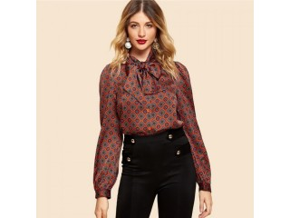 Rust Button Front Tie Neck Tribal Shirt