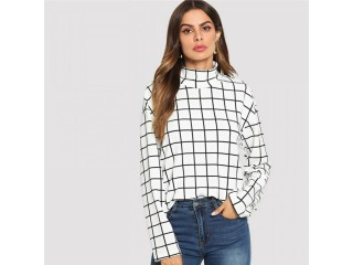 Long Sleeve Blouses Women Plaid Top