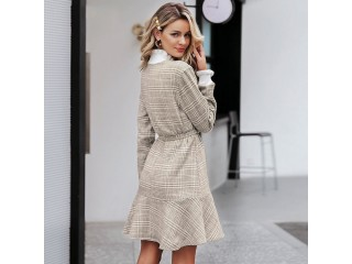 Turtle Neck Knitted Short Dress